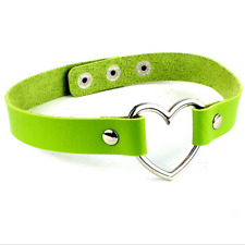 1 Pcs Grass Green Leather Choker With Heart Ring Choker Collar Necklace