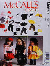 "McCall's 6669 PATTERN for 18"" American Girl DOLL CLOTHES & ACCESSORIES Mix&Match"
