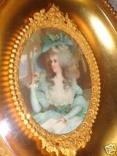 ANTIQUE FRENCH ORMOLU 19thC GOLD GILT ROSE LADY PORTRAIT OVAL SHADOW BOX FRAME