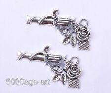30pcs tibetan silver rose pistol charms necklace pendant 31mm A0121