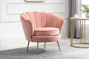 Birlea ARIEL Retro Glamour Velvet Accent Arm Chair Coral Pink with Gold Legs