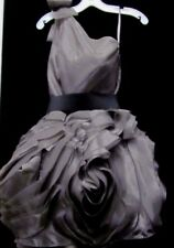WHITE by VERA WANG One Shoulder Organza Charcoal Formal Dress Size 12 NWT