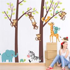Forest Animals Tree Decor Elephant Monkey Giraffe Wall Sticker Kids Room Decal