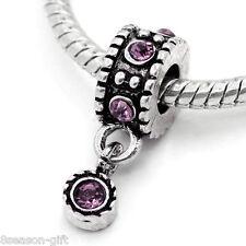 "50PCs European Charm Dangle Beads Purple Rhinestone Silver Tone 7/8""x 3/8"""