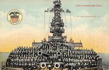 ENTIRE DREADNOUGHT CREW BATTLE SHIP MILITARY POSTCARD (c. 1908)