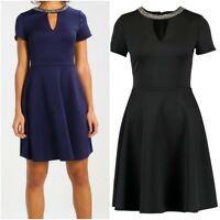 NEW Ex Dorothy Perkins Skater Dress Embellished Neck PARTY DRESS £44 Size 6 - 18