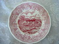 Collectible Vintage SWISS LANDSCAPE Red/Pink Farm Scenic Plate - Made in Italy