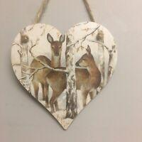Deer Christmas Decoration Handmade Decoupaged Wooden Hanging Heart Winter Forest