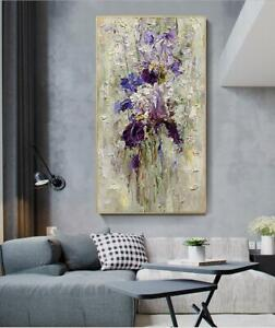 """YA1376 LARGE DECO ABSTRACT PURPLE FLOWER OIL PAINTING HAND-PAINTED UNFRAMED 48"""""""