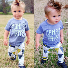 US Newborn Baby Mama's Boy T-shirt+ Long Pants Outfit Clothes Playsuit 12-18M 01