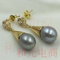 9-10MM HUGE baroque pearl earrings 18K gold plating olivine natural TwoPin