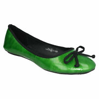 SPOT ON F8R774 LADIES SLIP ON CASUAL WOMENS BOW TRIM FLAT DOLLY BALLERINA SHOES