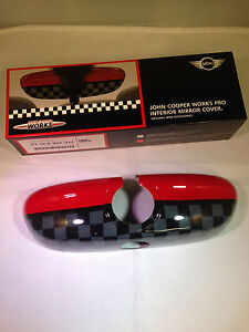 MINI F56 INTERIOR REAR VIEW MIRROR CAP COVER JCW PRO 51162353317 CHEQUERED