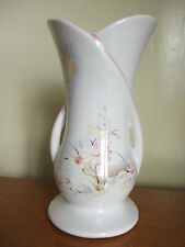 Vintage 1970s 1980s White Ceramic Vase With Pink & Yellow Floral & Bird Pattern