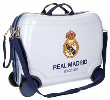 Maleta Rigida Cabina Avion Ruedas Trolley Real Madrid ABS Blanco Azul