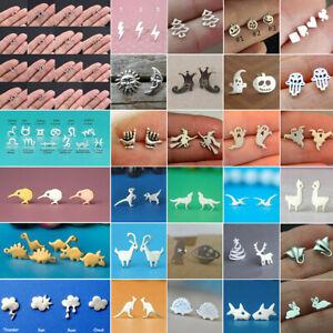 Dinosaur Earrings Halloween Bat Ghost Snake Ear Studs Rune Earrings Xmas Jewelry