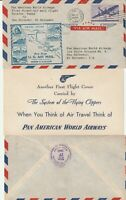 US 1946 PAN AM DIRECT FIRST FLIGHT FLOWN COVER HOUSTON TO SAN SALVADOR + INSERT