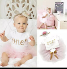 BABY GIRL MY 1st  ONE BIRTHDAY PINK TUTU OUTFIT  CROWN 3 PIECE SET ROMPER SKIRT