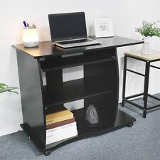 Schreibtisch Computertisch Bürotisch PC Tisch mit Ablageböden Rollen 90x75x50cm