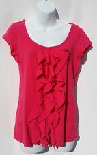 Grace Elements Women's Pink Ruffle Front Short Sleeve Pink Shirt Size Small