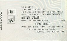 RARE / TICKET CONCERT LIVE - BRITNEY SPEARS PARIS ZENITH ( FRANCE )NOVEMBRE 2000