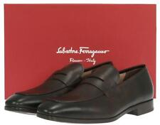 NEW SALVATORE FERRAGAMO BOUND  BROWN LATHER LOAFERS SHOES 9 EEE