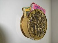 VINTAGE BRASS EMBOSSED WALL POCKET SCONCE ENGLAND MUSKETEERS SCENE LETTER BOX