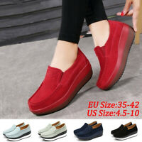 Women Summer Slip On Loafers Suede Wedge Shoes Genuine Leather Platform Shoes