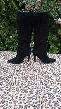 Guess black suede leather high heeled boots UK 6 EU 39
