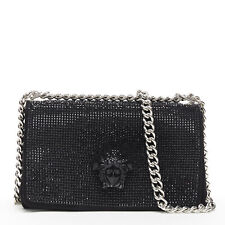 new VERSACE Palazzo Medusa black strass crystal flap chunky chain shoulder bag