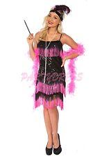 OP Ladies Costume Fancy Dress 1920s Flapper Gatsby Gangster 193 Black Pink 8-14
