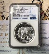 NGC PF70 2018 Thailand World Stamp expo Silver Elephant Medal 60g First Release