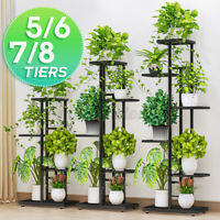 5/6/7/8 Tiers Plant Flower Pot Display Stand Holder Rack Home Shelf Organizer