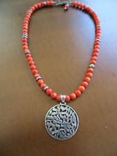Vintage Artisan Hand Crafted Apple Coral Beaded Necklace w/925 sterling pendant