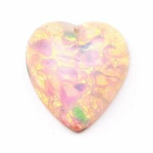 Czech vintage foil harlequin opal heart glass cabochon pendant 20mm