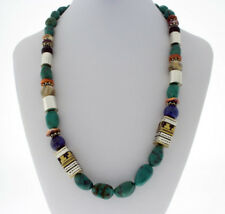 By Navajo Artist Rose Singer Kingman Turquoise Nugget And Bead Necklace