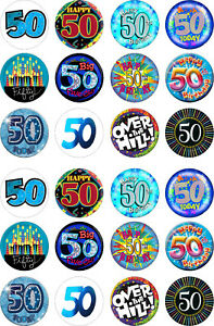 24 edible 50th Birthday male Iced Icing Fondant 4cm Cupcake Toppers Cake