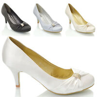 Womens Bridal Shoes Diamante Brooch Ladies Satin Party Low Heel Slip On Pumps