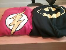 DC's The Flash & Batman Men's LARGE Zip up Hoodie With Ears