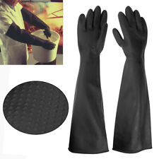 Rubber PPE Latex Gauntlets Long Gloves Anti Chemical Industrial Gauntlet 60CM UK