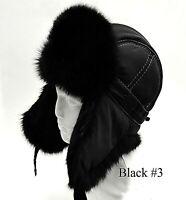Men Winter Real Fur Ear Flap Ushanka Rabbit Fur Aviator Trapper Hat Women Unisex