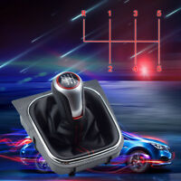 PU 6 Speed Gear Shift Knob w/ Boot Cover Great For VW Volkswagen Golf 6 MK5 MK6