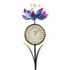 Solar Spinning Blue Lotus Thermometer Garden Stake, 8 by 38 Inches