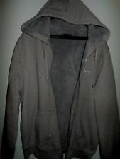 NWT MICHAEL KORS MENS HOODED SWEATER JACKET COAT SZ SMALL SHERPA FUR ASH MELANGE