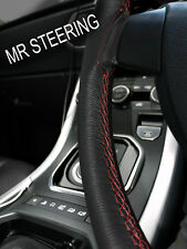 FOR MERCEDES W124 84-93 TRUE LEATHER STEERING WHEEL COVER DARK RED DOUBLE STITCH