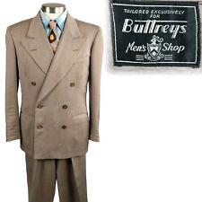Vintage 1950s Buttreys Light Brown Double Breasted Suit 40 28x32