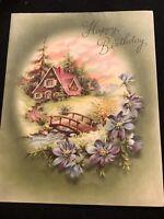 "#3128🌟Vintage 40s Happy Birthday"" Olive Grn Pink Pastoral Cottage Greeting Card"