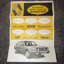 RENAULT 30TS 30 TS 2.7 V6  UK Market Brochure Press Review Newspaper 1975-1976