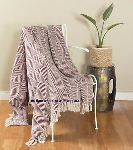 Indian Cotton Large Bedding Shawl Rug Abstract Cotton Blanket Sofa Couch Throw