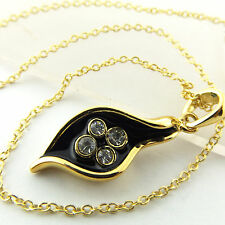 NECKLACE PENDANT CHAIN 18K YELLOW GF GOLD DIAMOND SIMULATED BLACK ENAMEL DESIGN